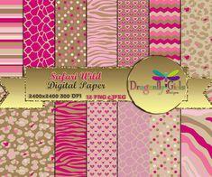 Safari Wild, Instant Download, digital paper, commercial use, scrapbook papers, background Zebra Leopard Animal Print Chevron
