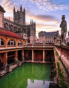 Historic Roman Baths in Bath, a town set in the rolling countryside of England, south-west of UK