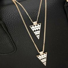 $3.59 Personalized Punk Style Triangle Shape Double-Deck Necklace For Women