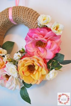 Spring floral and twine DIY wreath