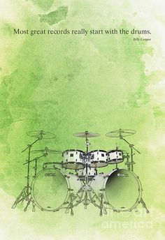 Drums Quote - Green Canvas Print / Canvas Art by Pablo Franchi