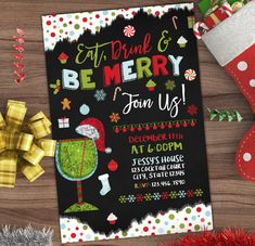 Christmas Cocktail Party Invitation - Winter Invite - Let It Snow - Adult Party - Wedding Rehearsal - Shower - Printable or Printed - 4x6