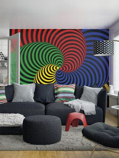 Large Funky Primary Swirls Pattern Photo Wallpaper Wall Mural For Living  Room Wall Decals, Dining Part 62