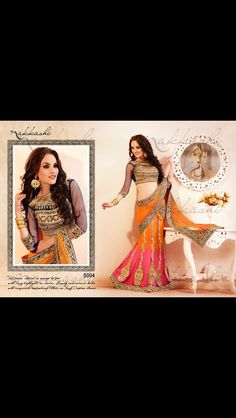 Designer Sarees    Orange   Pink wedding collection Designer Saree with  Blouse. Sangi Kerai · Indian fashion fea3e11e388
