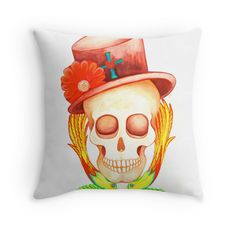top hat tattoo style soul skull rock n roll art printed cushion cover by melanie dann