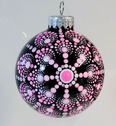 Discover thousands of images about Hand painted Christmas ornament Painted Christmas Ornaments, Hand Painted Ornaments, Beaded Ornaments, Handmade Ornaments, Christmas Baubles, Holiday Ornaments, Christmas Mandala, Christmas Rock, Mandala Dots