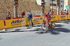 The Team Katusha rider approaches a bend at the end of the TT time trial stage…