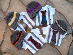 GET THE SET -  Baby Boy Tie Bodysuit with Suspenders, Tie, and Hat. Preppy, Photo Prop, Fall, Winter on Etsy, $36.00