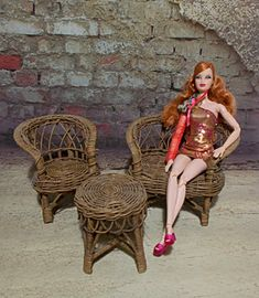 Vintage Barbie Doll Wicker Furniture Living by TntbrbefanDolls