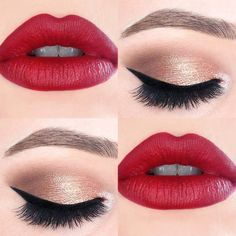 Image result for simple eye makeup with red lipstick