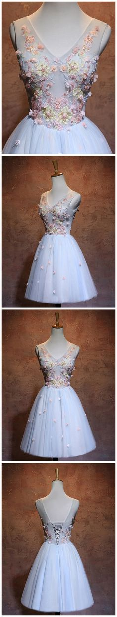 2017 CHIC HOMECOMING DRESS V-NECK BLUE APPLIQUE LACE TULLE SHORT PROM DRESS AM127