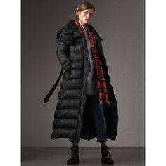 Detachable Hood Long Down-filled Puffer Coat in Black - Women   Burberry