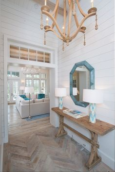Elegant White Beach House Ideas 04 – GooDSGN coastal living room decor, lakehouse living room decor, cottage foyer decor, lakehouse foyer design with coastal foyer, wood herringbone floor Coastal Living Rooms, Coastal Cottage, Coastal Homes, Coastal Decor, Coastal Style, Aqua Decor, Coastal Farmhouse, Coastal Entryway, Entryway Decor