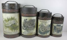 "Vintage Decorative Canister Set Brown - 4/set by OWI. $39.99. 4 pc set. The Decorative Vintage Canister Set is a set of 4 natural metal canisters that include metal lids with handles. The largest canister is 10 inches tall with a 5-1/4 inch diameter and has a label that reads ""Flour."" The next size is 8-1/2 inches tall with a diameter of 4-3/4 inches and has a label that reads ""Sugar."" The next size is 7-1/2 inches tall with a diameter of 4-1/2 inches and has a label t..."