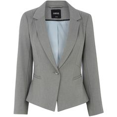 OASIS Bonnie Workwear Blazer ($100) found on Polyvore featuring outerwear, jackets, blazers, grey, gray blazer, grey jacket, grey blazer, gray jacket and lined jacket