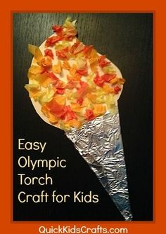 Olympic torch craft for kids by Quick Kids Crafts. Kids Olympics, Winter Olympics, Special Olympics, Olympic Idea, Olympic Games, Daycare Crafts, Preschool Crafts, Craft Kids, Kids Crafts
