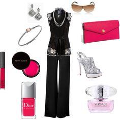 Classic black lace top, slacks, metallic shoes, pink clutch.