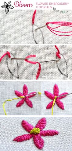 fishbone stitch flower embroidery tutorial