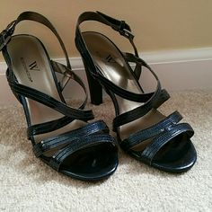 "Worthington heels Worn once strap heels. Metallic blue . 4""heel Worthington Shoes"