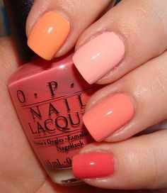 Index to pinkie: China Glaze Peachy Keen, Essie Van D'Go, Barielle Blossom, OPI Back to the Beach Peach