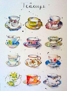 Items similar to Art Print - Vintage Teacups - Kitchen Art - Illustration - China - from Original Ink and Watercolour Illustration on Etsy Tee Kunst, Teacup Tattoo, Sketch Manga, Foto Poster, Guache, Tea Art, Kitchen Art, Watercolor Illustration, Tea Illustration