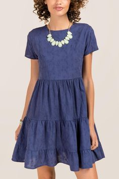 Maddie Embroidered Babydoll Shift Dress