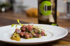 Tunfisch roh mariniert, Good Old Times Weißwein-Cuvée