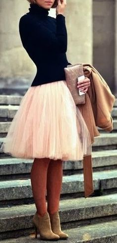 Black + blush. Still need for this outfit: poofy skirt