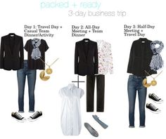 What to pack and wear for a business trip that includes all day meetings and casual team dinners and activities. Business Travel Outfits, Casual Travel Outfit, Business Trip Packing, Business Attire, Packing Lists, Weekend Packing List, Travel Attire, Business Clothes, Packing Ideas