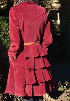 Close up of coat back - Lekala coat pattern in corduroy
