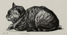 "Cat drawing by A. Lancon. Illustration from the public domain book, ""Pen drawings and pen draughtsmen, their work and their methods; a study of the art to-day with technical suggestions (1889)."" Browse and download for free here: https://archive.org/stream/pendraw00penn"
