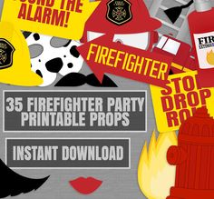 Firefighter photo prop ideas for fireman party