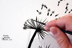 Tutorial for Painting Dandelion Wall Graphic.  I think this could look cool on a dresser! (especially in a little girl's room!)