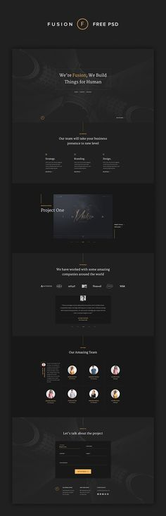 A stylish PSD template for personal portfolio or agency website with elegant design. Easy to customize and adapt, it will be a huge helper in web-design projects.