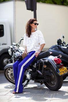 FASHION NO-FUC*NO!! striped sweatpants and a lace blouse............:(