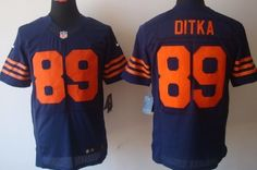 Nike Chicago Bears #89 Mike Ditka Blue With Orange Elite Jersey