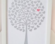 Gorgeous handcut framed papercut, a tree made of hearts