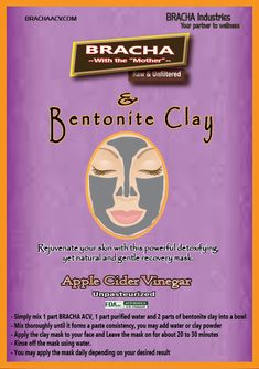 Rejuvenate your skin with this powerful detoxifying, yet natural and gentle recovery mask. Bentonite Clay, Acv, Cebu, Slim Waist, Apple Cider Vinegar, Health Benefits, Your Skin, Recovery, Natural