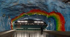 Rainbow stop in Stockholm underground -- Click through for dozens of examples of professionally decorated stops.