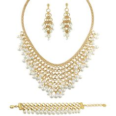 BERRICLE Gold-Tone Simulated Pearl Fashion Necklace Earrings and... ($83) ❤ liked on Polyvore featuring jewelry, earrings, sets, bracelets, earrings and necklace set, white, women's accessories, post earrings, set jewelry and faux pearl earrings