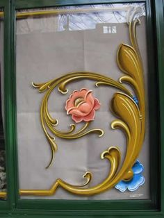 Love the idea of rosemaling on glass! Tole Painting, Fabric Painting, Painted Signs, Hand Painted, Azulejos Art Nouveau, Tattoo Signs, Leaf Art, Letter Art, Textures Patterns