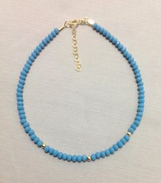 Crystal Beads Ankle Bracelet made of 14K Gold by OritWhiteLight