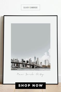 Culver and Cambridge's New York City Print. Our vintage-style photo print is a bold, modern art touch featuring your favorite city! Geography prints make a great pair or a set of three or four to celebrate all your favorite places. Our city prints and state posters also make perfect housewarming gifts and going away gifts! || culverandcambridge.com || NYC Poster, Brooklyn Bridge Wall Art || #poster #artprint #walldecor City Print, Going Away Gifts, Office Prints, Blue Prints, Housewarming Gifts, Posters, Poster Prints, Office Wall Decor, Brooklyn Bridge