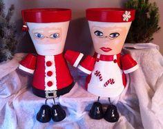 30 Elf and Santa Candy Pot Gift Ideas Rustic Christmas Crafts, Christmas Clay, Holiday Crafts, Clay Pot Projects, Clay Pot Crafts, Diy Clay, Flower Pot People, Clay Pot People, Clay Flower Pots