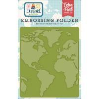 Echo Park Embossing Folder 5X5.875 - Go, See, Explore; Around The World
