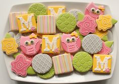 Owl Cookie Platter. I love how one special design combined with simple cookie designs can give such a great platter.