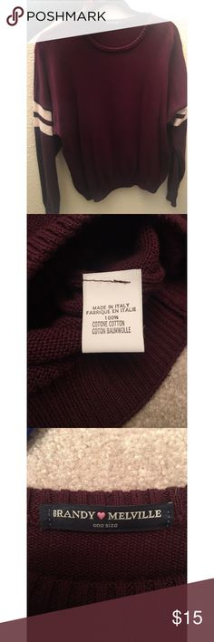 Brandy Melville Maroon Sweater Maroon knit sweater from Brandy Melville. Only worn once and in great condition! Brandy Melville Sweaters Crew & Scoop Necks