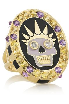 Holly Dyment  | Thursday 18-karat gold, enamel, diamond and sapphire ring | NET-A-PORTER.COM