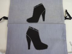 Pochon+zapatos/bolsa+para+zapatos+y+algodón+negro+y+por+VeroModArt