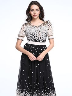 Women's Beach Chiffon / Skater Dress,Polka Dot Round Neck Maxi Short Sleeve Black Acrylic Spring - USD $25.99 ! HOT Product! A hot product at an incredible low price is now on sale! Come check it out along with other items like this. Get great discounts, earn Rewards and much more each time you shop with us!